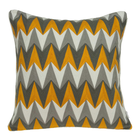 ArtFuzz 20 inch X 0.5 inch X 20 inch Transitional Gray and Orange Cotton Pillow Cover