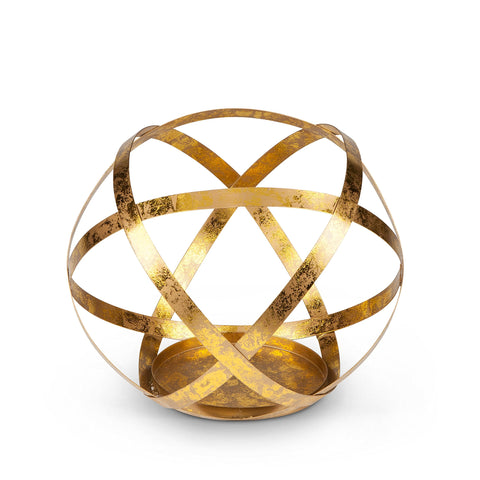 The Gerson Company Golden Metal Sphere Candle Holder Without Glass, 9.1