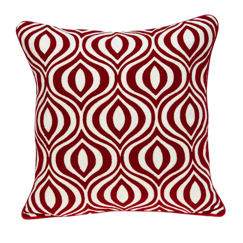 ArtFuzz 20 inch X 7 inch X 20 inch Transitional Red and White Pillow Cover with Down Insert