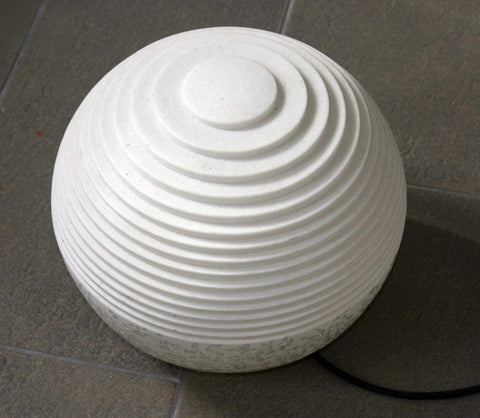 ArtFuzz 14 inch X 12 inch White Round Outdoor Ball with Lines and Light