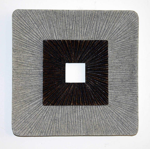 14 inch X 2 inch Brown & Gray Enclave Square Ribbed Wall Art
