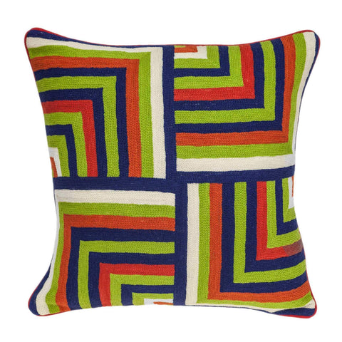 ArtFuzz 20 inch X 7 inch X 20 inch Handmade Multicolored Cotton Pillow Cover with Down Insert