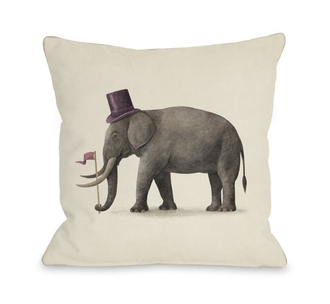 Elephant Day - Multi Throw Pillow by Terry Fan 18 X 18