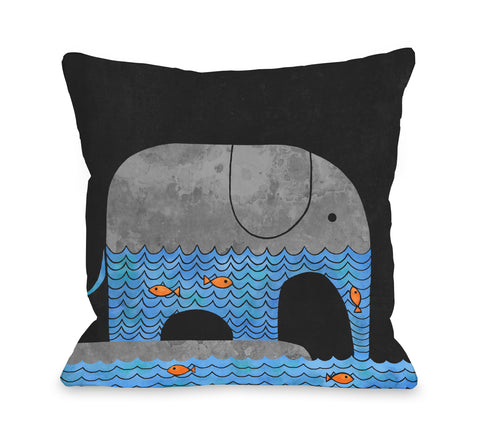 Thirsty Elephant - Multi Throw Pillow by Terry Fan 18 X 18
