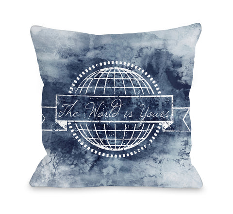 The World is Yours - Gray Throw Pillow by Julia Di Sano 18 X 18