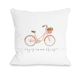Enjoy The Little Things Bike - White Throw Pillow by OBC 18 X 18
