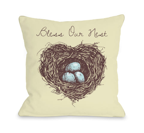 Bless Our Nest - Yellow Throw Pillow by OBC 18 X 18