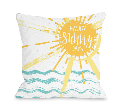 Enjoy Sunny Days - Yellow Throw Pillow by OBC 18 X 18