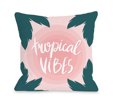 Tropical Vibes - Pink Throw Pillow by OBC 18 X 18