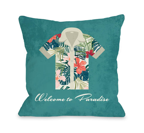 Welcome To Paradise - Green Throw Pillow by OBC 18 X 18