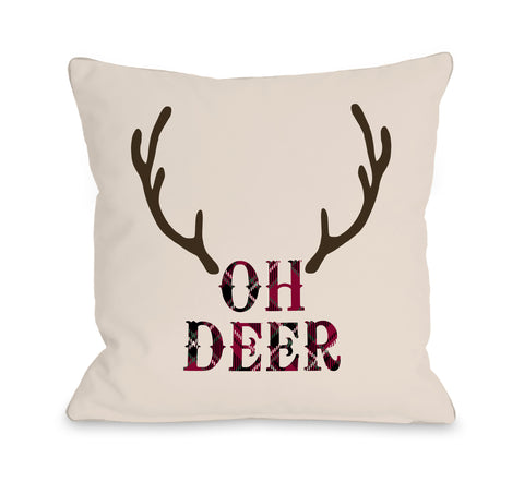 Oh Deer Antlers - Tan Throw Pillow by OBC 18 X 18