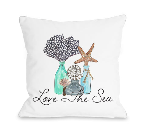 Love The Sea - White Throw Pillow by Timree 18 X 18