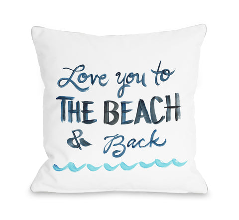 Love You To The Beach - White Throw Pillow by Timree 18 X 18