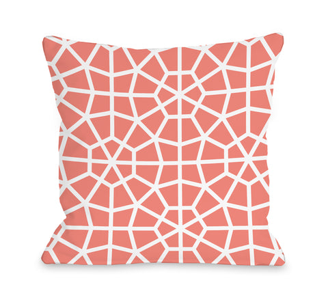 Grenada Coral - Orange Throw Pillow by OBC 18 X 18