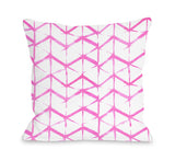 Playa Del Carmen Pinkwht - Pink Throw Pillow by OBC 18 X 18
