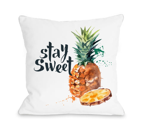 Stay Sweet - White Throw Pillow by OBC 18 X 18