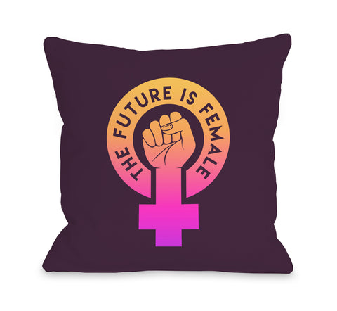 The Future Is Female - Purple Throw Pillow by OBC 18 X 18