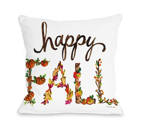 Fall Happy Fall Flowers - White Throw Pillow by Timree 16 X 16