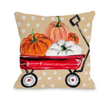 Fall Wagon - Multi Throw Pillow by Timree 16 X 16