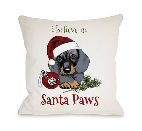 I Believe in Santa Paws - Tan Throw Pillow by OBC 16 X 16