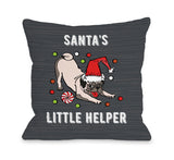 Santa's Little Helper - Gray Multi Throw Pillow by OBC 18 X 18