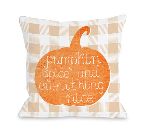 Pumpkin Spice Everything Nice Plaid - Orange Throw Pillow by OBC 18 X 18