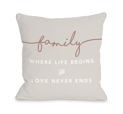 Family Where Life Begins - Tan Throw Pillow by OBC 18 X 18