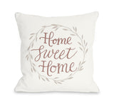 Home Sweet Home Leaf Wreath - Ivory Throw Pillow by OBC 18 X 18
