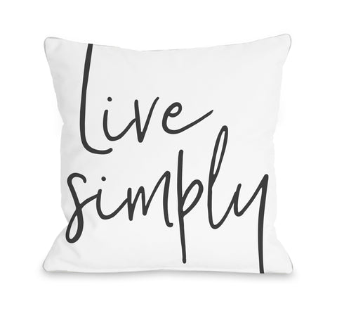 Live Simply - Gray Throw Pillow by OBC 16 X 16