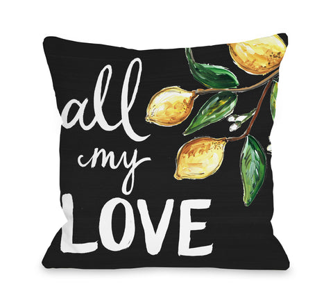 All My Love Lemons - Black Throw Pillow by Timree 16 X 16