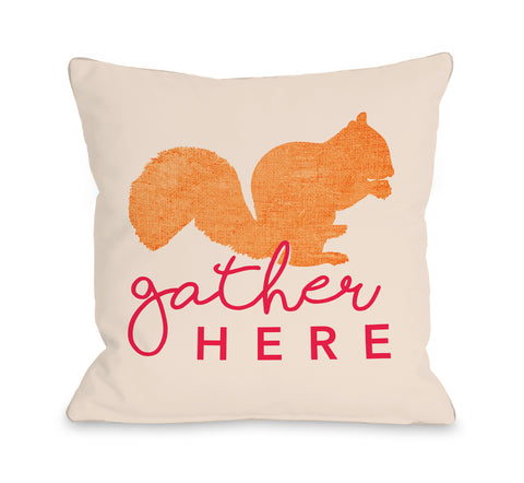 Gather Here Squirrel - Tan Throw Pillow by OBC 18 X 18
