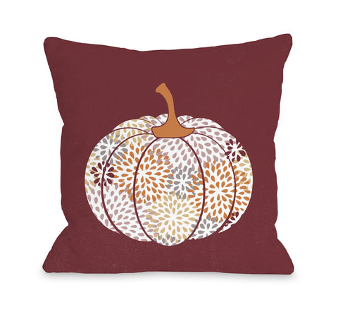 Floral Pumpkin - Burgundy Throw Pillow by OBC 18 X 18