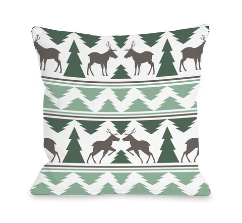 Winter Forest - Green Throw Pillow by OBC 18 X 18
