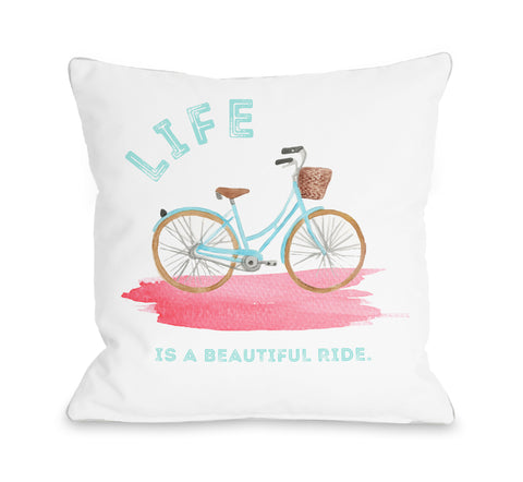 Life Is A Beautiful Ride - Multi Throw Pillow by Cheryl Overton 16 X 16