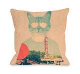 Cool Cat - Multi Throw Pillow by Ali Gulec 18 X 18