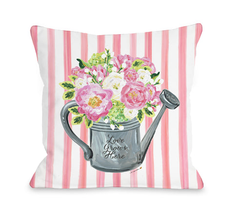 Watering Can - Multi Throw Pillow by Timree 18 X 18