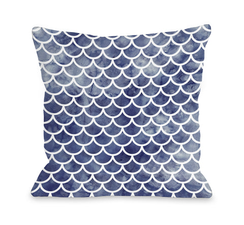 Mermaid Scales Navy - Navy Throw Pillow by OBC 18 X 18