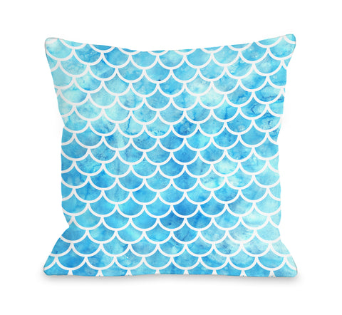 Mermaid Scales Turq - Blue Throw Pillow by OBC 18 X 18