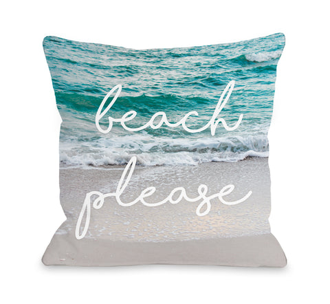 Beach Please Bright Wave - Blue Throw Pillow by OBC 16 X 16