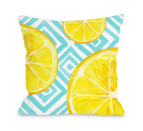 Lemon Squeeze - Blue Throw Pillow by OBC 18 X 18