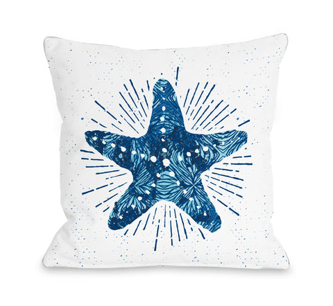 Starfish Bursts Bright - Blue Throw Pillow by OBC 18 X 18