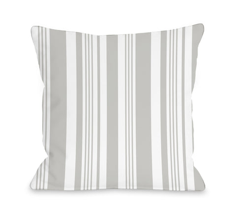 Spring Stripes Gray - Gray Throw Pillow by OBC 18 X 18