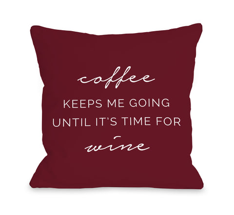 Coffee Wine - Red Throw Pillow by OBC 18 X 18