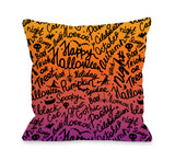 Halloween Scribbles - Multi Throw Pillow by OBC 18 X 18