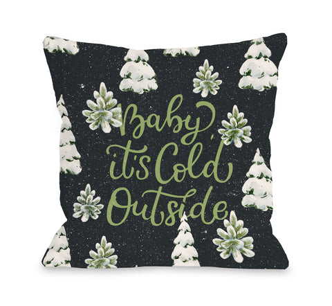 Baby Its Cold Outside Forest - Gray Throw Pillow by OBC 18 X 18