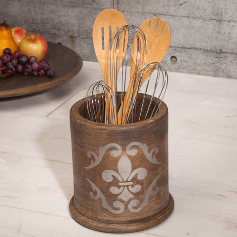 The Gerson Company 7''H x 6.5''D Meadowlark Home Collection Hand Made Mango Wood Round Fleur De Lis Pattern Utensil Holder