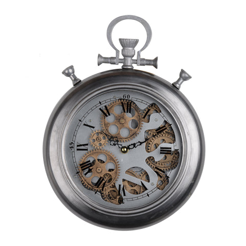 ArtFuzz 11.5x2.5x15 Hereford Pocketed Wall Clock, Small - Silver