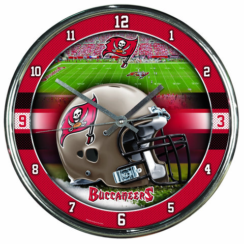 Nfl Football Team Chrome Wall Clock , Tampa Bay Buccaneers , 12-Inch
