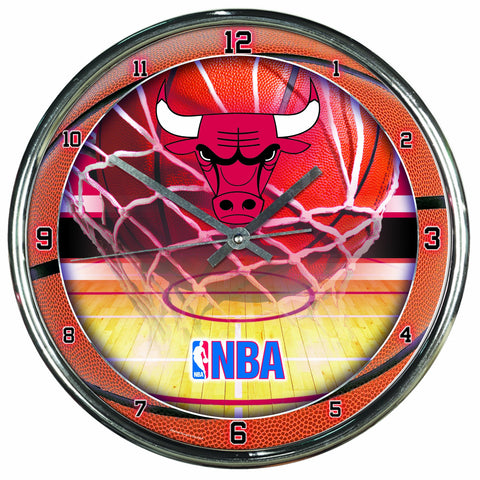NBA Chicago Bulls Chrome Clock
