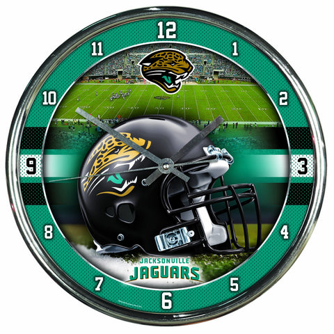 Nfl Football Team Chrome Wall Clock , Jacksonville Jaguars , 12-Inch